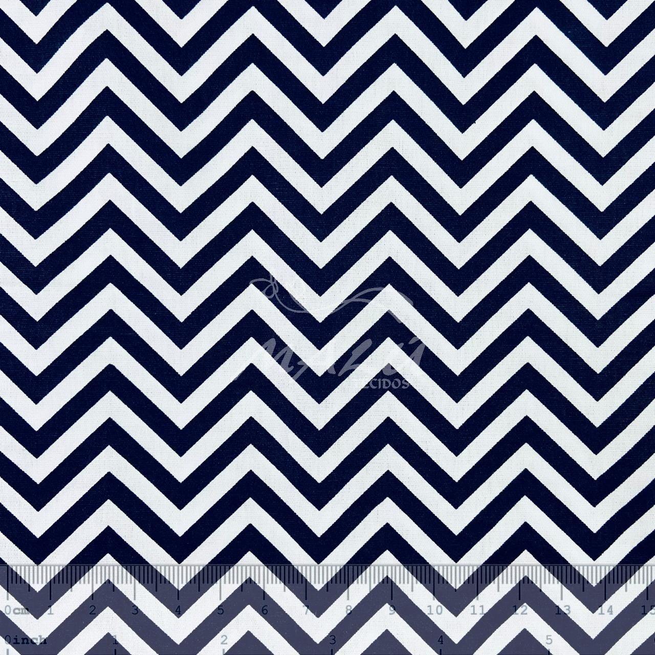 Tricoline Chevron Azul Marinho e Branco