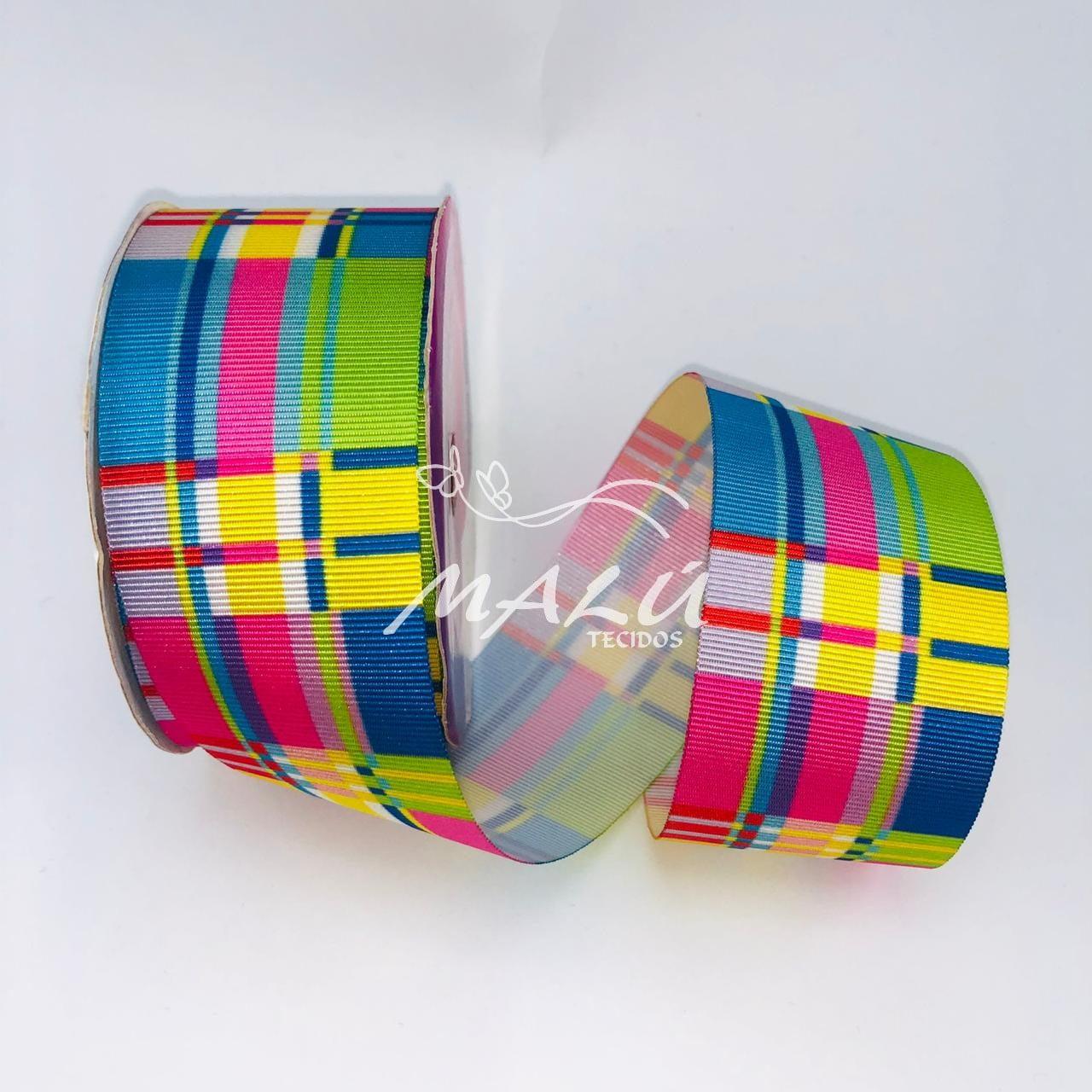Fita Gorgurão Estampada Colorida N9 10mts