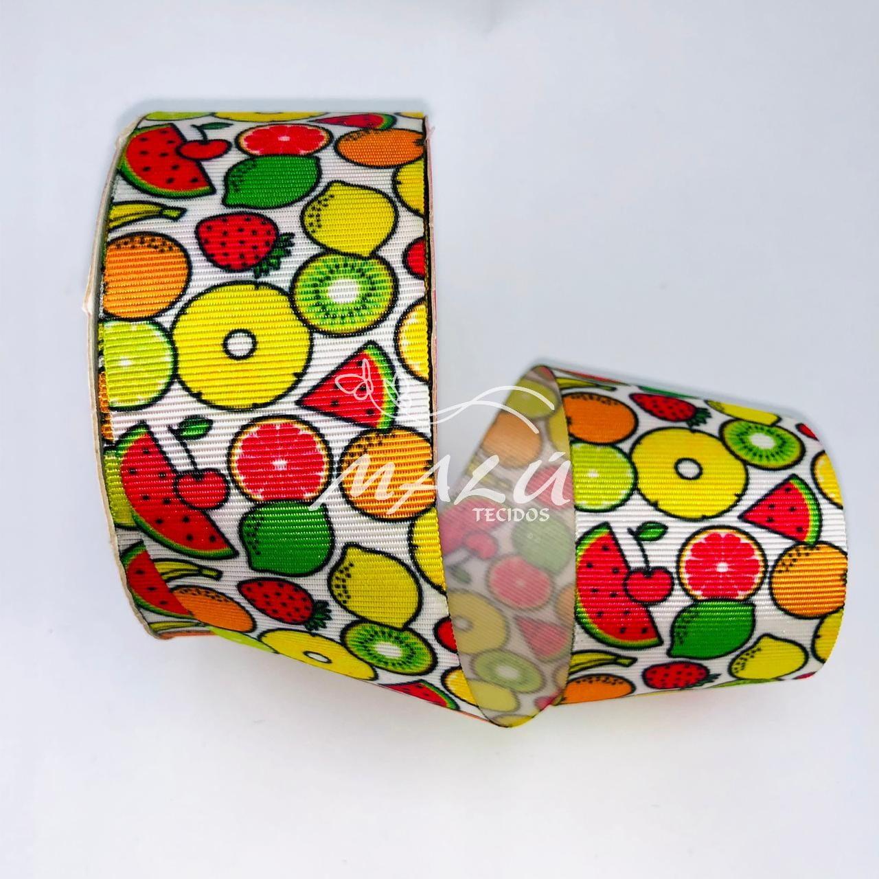 Fita Gorgurão Estampada Frutas N9 10mts