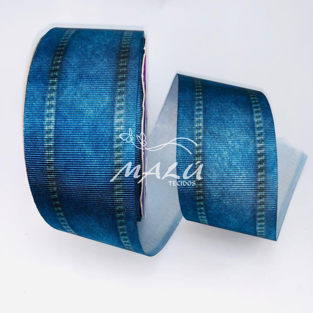 Fita Gorgurão Estampada Jeans N9 10mts