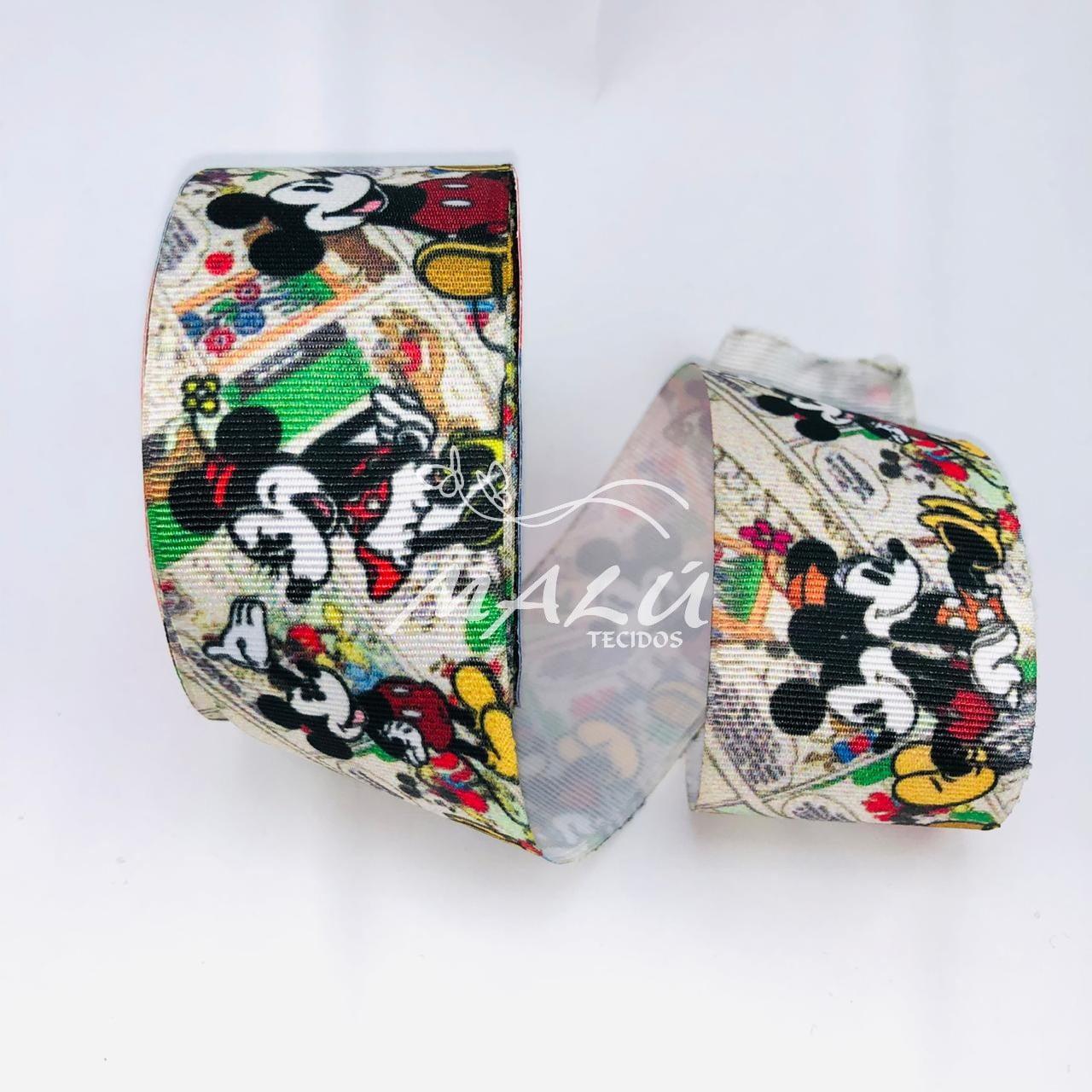 Fita Gorgurão Estampada Mickey e Minnie N9 10mts