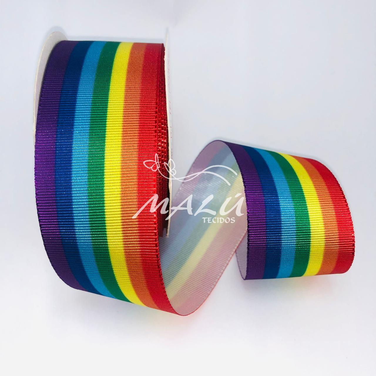 Fita Gorgurão Estampada Orgulho LGBT N9 10mts