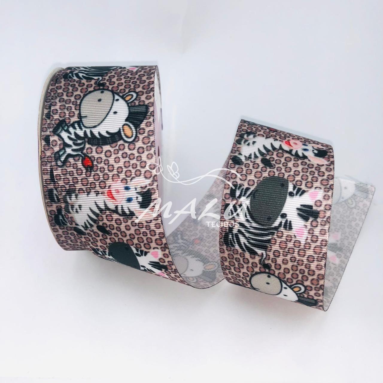 Fita Gorgurão Estampada Zebra N9 10mts