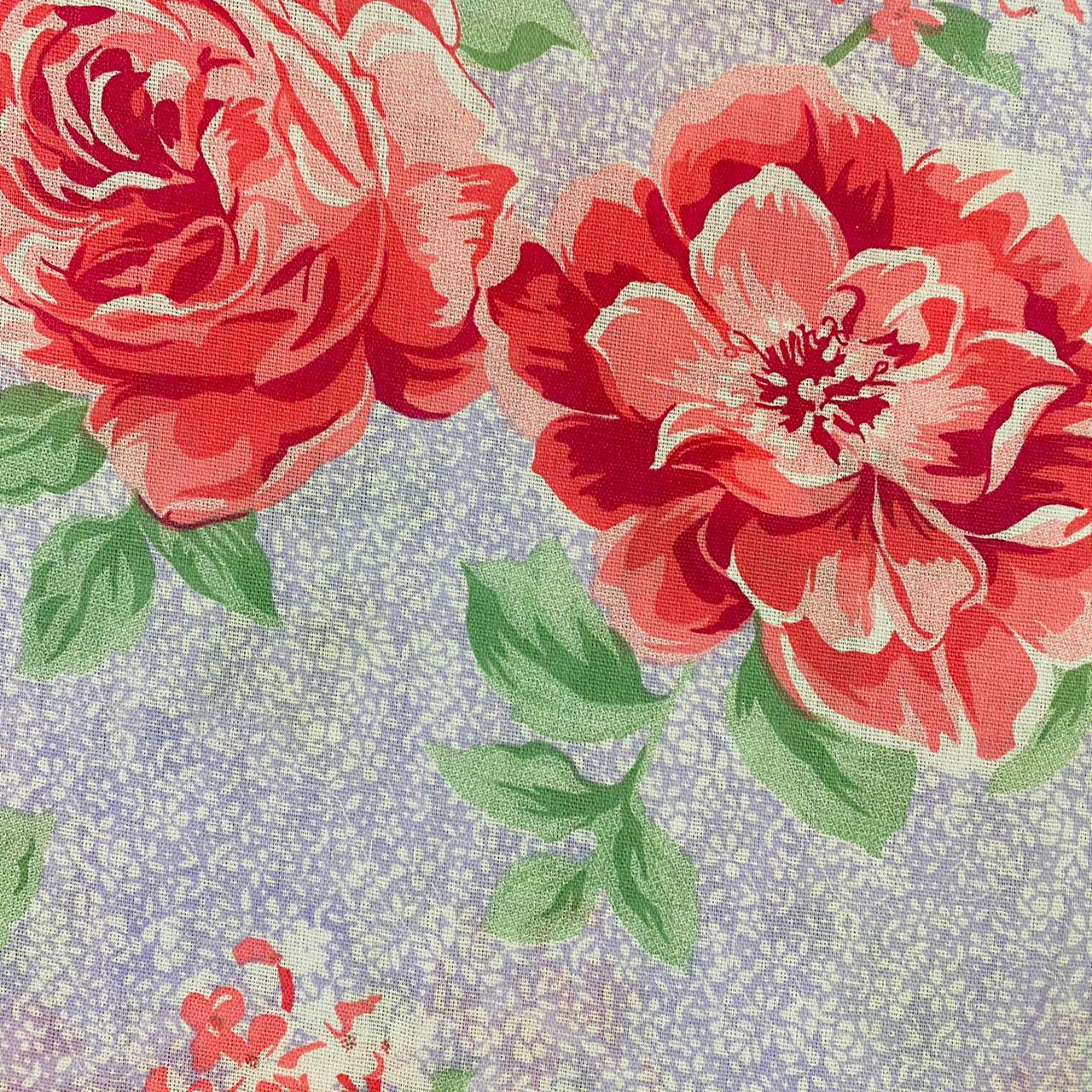Lençol Misto Floral fundo Lilás 2,20m Largura