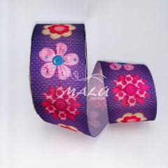 Fita Gorgurão Estampada Flor Botão N9 10mts
