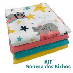 Kit Tricoline Soneca dos Bichos 4 Cortes de 35x50cm