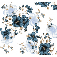 Lençol Elegance Flor Azul 2,45m Larg. 150fios ELE6986