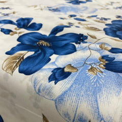 Lençol Elegance Flor Azul 2,45m Larg. 150 Fios 63%Alg.