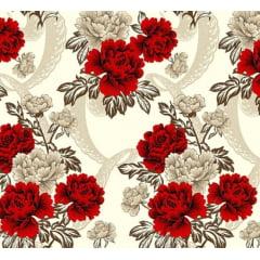 Lençol Elegance Flor Vermelha 2,45m Larg. 150fios ELE6976