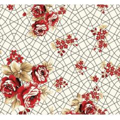 Lençol Elegance Flor Vermelha Arabesco 2,45m Larg. 150fios ELE6985