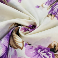 Lençol Elegance Flor Violeta 2,45m Larg. 150 Fios 63%Alg.