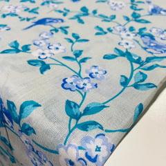 Lençol Misto  Floral Azul 2,20m Largura