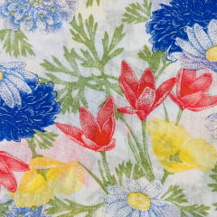 Lençol Misto Floral Colorido 2,20m Largura