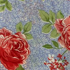 Lençol Riolen Floral fundo Azul 2,20m Largura RIO1516