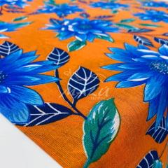 Chita Laranja Flor Azul 100% Algodão