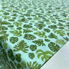 Tricoline Folhas Costela de Adão fundo Verde