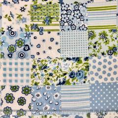 Tricoline 70% Algodão Floral Azul Bebe Patchwork SET6991