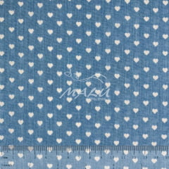 Tricoline Mista 50% Alg. Textoleen Coração Azul