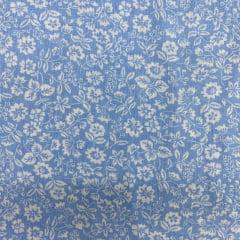 Tricoline Mista 50% Alg. Floral Azul Claro TEX7785
