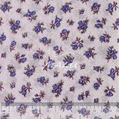 Tricoline Mista 50% Alg. Floral Lavanda TEX7832