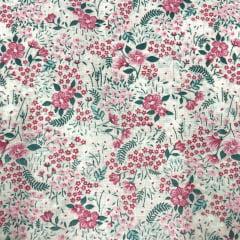 Tricoline Mista 50% Alg. Floral Rosa Claro TEX7855