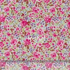 Tricoline Mista 50% Alg. Floral Rosa TEX7875
