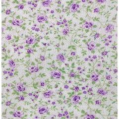 Tricoline Mista 50% Alg. Floral Violeta TEX7771