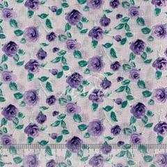 Tricoline Mista 50% Alg. Lilás com Flor TEX7889