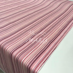 Tricoline Mista 50% Alg. Textoleen Listrada Rosa