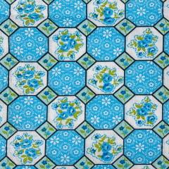 Tricoline Mista 50% Alg. Mosaico Azul TEX7772