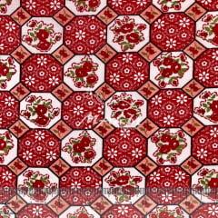 Tricoline Mista 50% Alg. Mosaico de Flores Vermelhas TEX7810