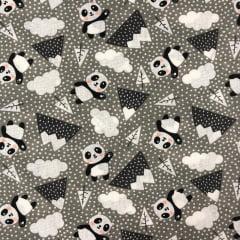 Tricoline Mista 50% Alg. Textoleen Panda Cinza