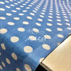 Tricoline Mista Poa Azul com Branco