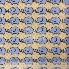 Tricoline Bege com Elefante Azuis TRICO9764