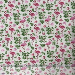 Tricoline Branco com Flamingos Rosas e Ramos Verdes TRICO9758