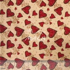 Tricoline Digital Corações Vermelhos TRICO9182