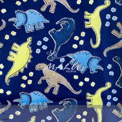 Tricoline Dinossauros fundo Azul