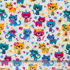 Tricoline Gatos Coloridos fundo Bege TRICO9402