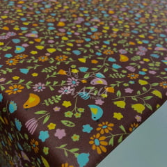 Tricoline Passarinhos e Flores