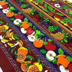 Tricoline Barrado de Frutas em Tons Escuros