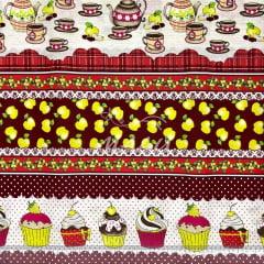 Tricoline Barrado Cozinha Bule Cupcake TRICO9543