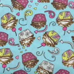 Tricoline Cupcakes Azul Claro TRICO8539