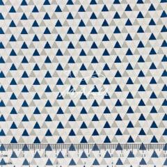 Tricoline Triângulo Azul com Cinza TRICO9449
