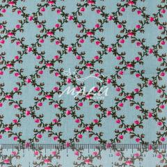 Tricoline Floral Azul Vintage TRICO9440