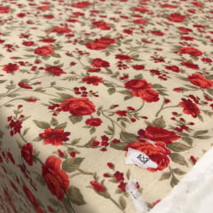 Tricoline Rosas Vermelhas