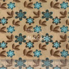 Tricoline Bege com Flores e Folhas TRICO9783