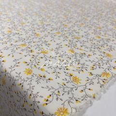 Tricoline Floral Amarelo com Fundo Marfim