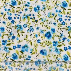 Tricoline Floral Azul Pintura TRICO8662