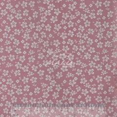Tricoline Floral Branco com Fundo Rosa Bebe TRICO9716