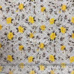 Tricoline Floral Cinza com Amarelo TRICO9849